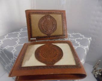 Mexico pair handmade wallets in leather and cowhide accents , new
