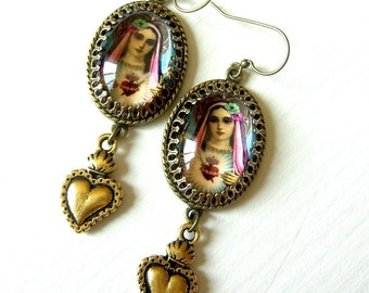 Pop Art Mary Sacred Heart Earrings in Silver or Brass