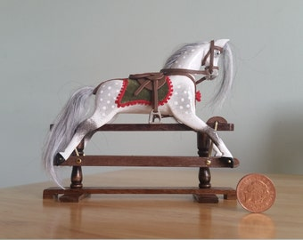 Handmade miniature dolls house rocking horse 1.12 scale