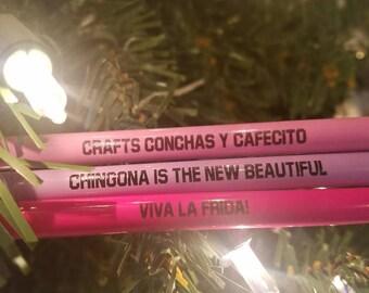 Pencils/Personlized Pencils/Frida Pencil/Chingona Pencil