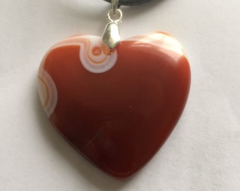 Orange and white love heart shaped pendant necklace