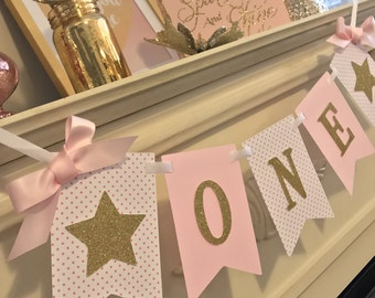 Pink and Gold First Birthday , First Birthday Banner, 1st Birthday,High Chair Banner, First Birthday Girl Banner