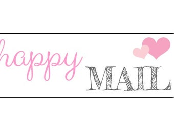 18 Happy Mail Heart Stickers, Packaging Stickers, Mailing Labels, Pink Heart Labels, Rectangle Labels, Happy Mail Stickers