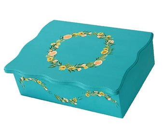 Personalized Wedding Keepsake Box, Hand-Painted - Rustic Boho Wildflowers, Roses, Sage, Infinity Sign - Memory Box Retirement Gift Box