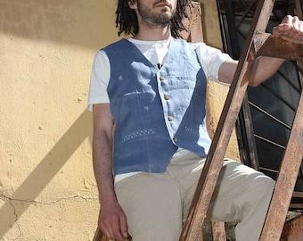 May Be My 03 men's linen waistcoat
