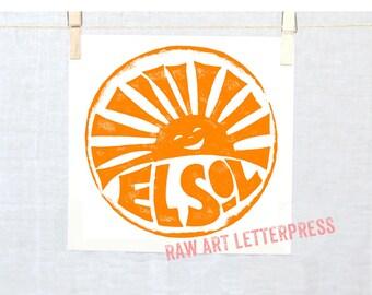 EL SOL - Spanish, Sunshine Sign, My Sunshine Wall Art, Solar, Block Print