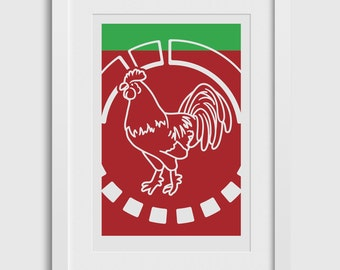 ROOSTER SAUCE Modern Art Poster • Giclee Fine Art Print •For Culinary Connoisseurs that Love Cooking with Sriracha Hot Sauce