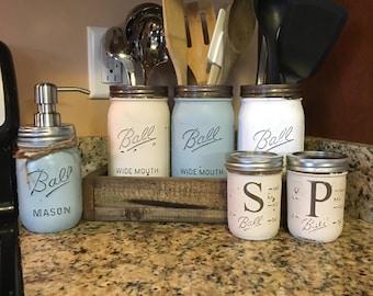 mason jar utensil holder, soap dispencer, mason jar soap dispenser, utensil storage, mason jar canister set, mason jar salt and pepper set