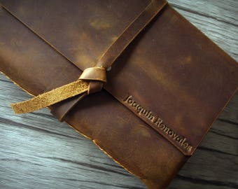Personalized Your Logo Leather Journal, Leather Vintage Bound Sketchbook, Rustic Leather Notebook Covers Journal, Guestbook Journal
