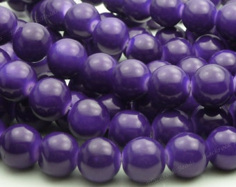 Midnight Purple Round Glass Beads - 12mm Beads - 17pcs - BN12