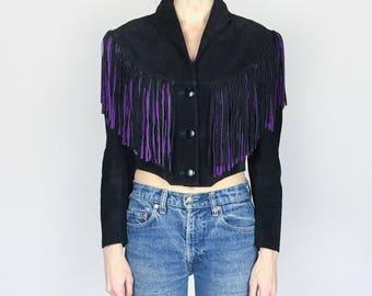 Vintage Cropped Suede Fringe Jacket (S)