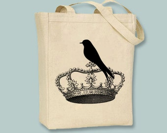 Vintage Crown With Crow Canvas Tote - Selection of sizes available, ANY IMAGE COLOR