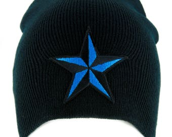 Blue Nautical Star Beanie Alternative Clothing Knit Cap Rockabilly Tattoo Ink - YDS-EMPA-048-BLUE-Beanie