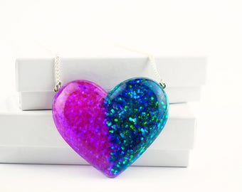 Turquoise & Purple Resin Heart Shaped Necklace Festival Chunky Glitter