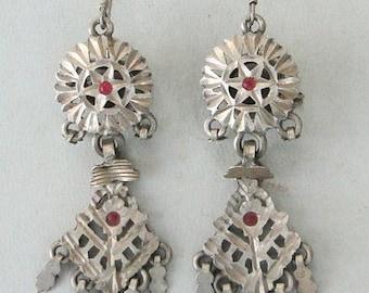Antique Ethnic Tribal Old Silver Earring Earplug Pair