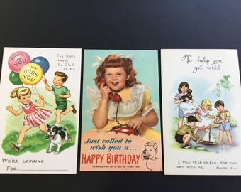 Vintage Sunday School Postcards, kids playing with balloons & boats, ( 3 )