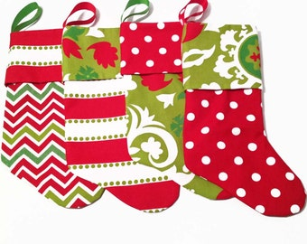 Modern Christmas Stockings, Contemporary Christmas Stockings, Red, White and Green Stockings