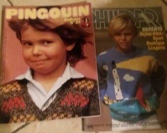 Set of 2 catalogs magazine Phildar knitting stitches kids children and Penguin