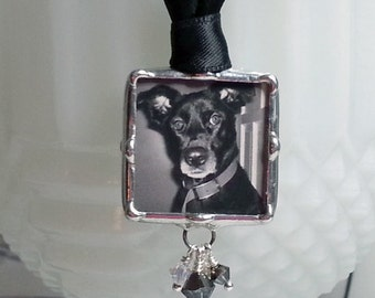 Pet Memorial Photo Charm, Bridal Bouquet Charm, Wedding Charm, Soldered Glass Pendant, Custom, Personalized Jewelry, Bride Accessories