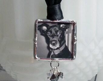 PET Memorial Photo charme, charme de Bouquet de mariée, mariage breloque, pendentif en verre soudé, bijoux sur mesure, personnalisé, accessoires de mariée