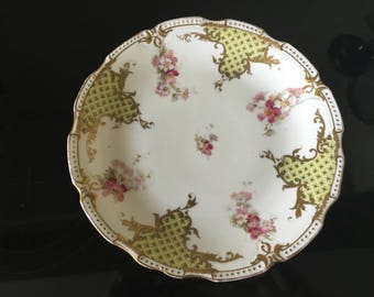 Limoges comport cakestand batwing panels and florals
