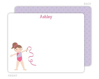 Gymnast Note Cards - Personalized Flat Note Cards - Gymnast Notecards - Kids Stationery - Gymnast Stationery - Kids Thank You Cards