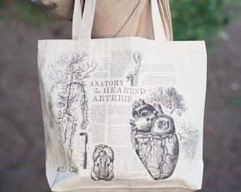 Vintage Anatomy: Anatomical Heart Tote Bag | Shoulder Bag Nurse Nursing Recycled Cardiology Cardiac Blood Flow Science Medical Student