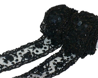 "1 1/2"" Edwardiandian Transitional Period Black Beaded Trim, Vintage Sewing Supply"