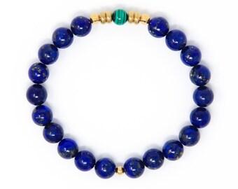 Buddhist Prayer Bead Bracelet, Spiritual Bracelet, Wrist Mala, Lapis Lazuli & Malachite  - Personal and Spiritual Goals, New Adventures