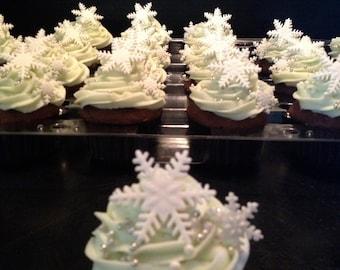 Snowflake Fondant Cupcake Toppers - 12