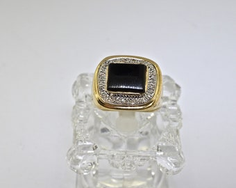 14k Two Tone Gold And Onyx Ring. Size 9
