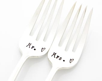 Mr and Mrs wedding forks. Hand stamped forks for unique engagement gift. As featured by Martha Stewart Weddings.