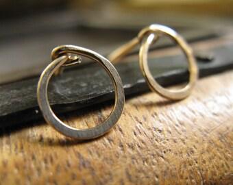 14k Gold fill small hoop stud earrings