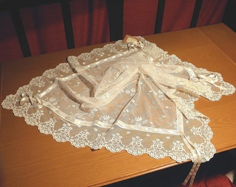 Ecru Embroidered Tulle Square Table Topper with French Lace Romantic tablecloth victorian decoration