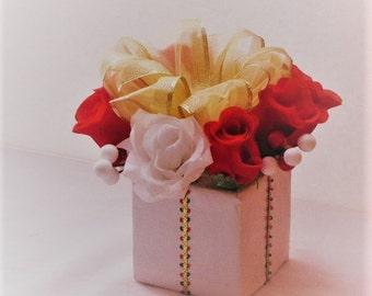 Wedding centerpiece silk Flower arrangement red and white rose Decoration  flowers wedding table decoration bridal gifts