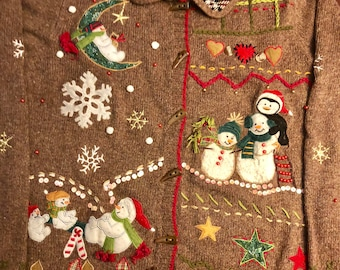 Super Tacky Vintage Ugly Christmas Sweater, Snowmen, Hearts, Snowflakes, Stars, Plaid, Woman's Size Medium, Clean!