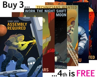 NASA POSTERS: 'Explorers Wanted' Series, Future Space Careers, School Education Prints