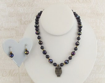 Metallic Beaded Owl necklace with Matching earrings