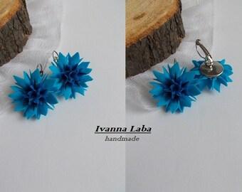 cornflower earrings, flower earrings, blue earrings, blue bride, flower jewellery, bridesmaids earrings, wedding stuff, cold porcelain