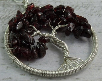 Garnet Tree of Life Sterling Silver Pendant on Chain