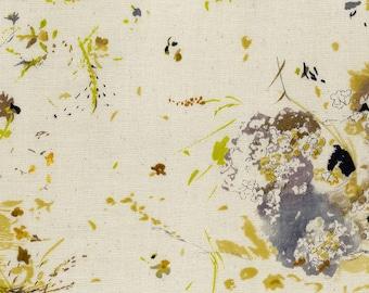 Nani IRO 2018 - Encounter C - Double Gauze Fabric - Japanese Fabric - Kokka Double Gauze - Gray Floral in Cream