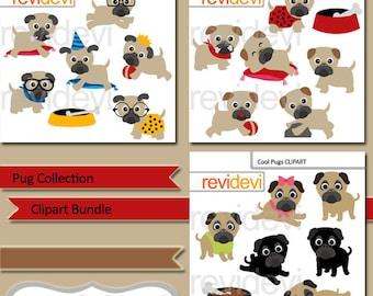 Pug clipart sale bundle / Dog clipart, Cute Pugs clip art / puppy, pet, dog, digital images commercial use