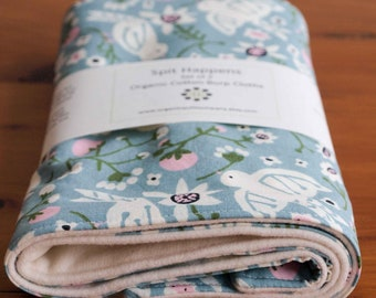 Blue Bird, Floral Burping Pads for Baby Girl; Organic Cotton Burp Rags; Pretty, Woodland Mother's Day Gift; Handmade Baby Gift, Sweet Tweet