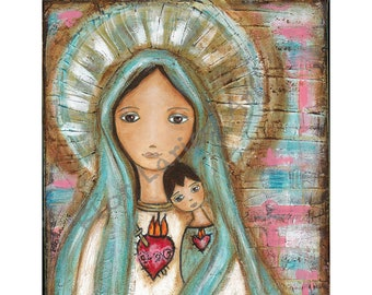 Immaculate Conception with Child  - Reproduction from Painting by FLOR LARIOS (8 x 10 Inches Print)  )