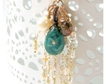 Victorian Antique Pin 14K Solid Gold with Chrysocolla set with Topaz
