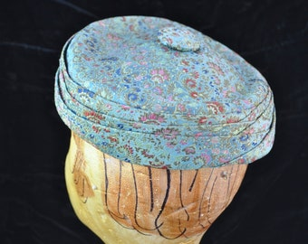 Vintage Hat Womens 50s 60s Mod Asian Oriental Pillbox Hat Brocade Tapestry Blue Metallic colors theater Costume Floral Print Retro Union USA