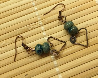 Copper and Jasper Wire Wrapped Heart Dangle Earrings  - Valentine Jewelry for Women Rustic Look