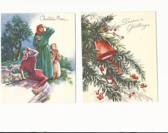 Vintage Christmas Peace Greeting Cards, Set of 2 Cards, Holiday, Paper, Scrapbooking, Greeting Card, Ephemera