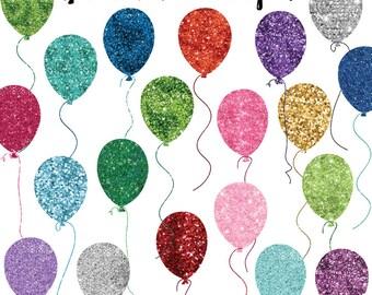 Birthday Clipart, Balloon Glitter Clip Art, Birthday Balloon Clipart, Glitter Graphics, Commercial Use, Instant Download