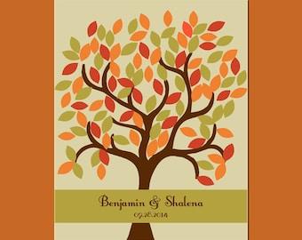 Fall Wedding, Signature Tree with 105 Leaves, Autumn Wedding Decor,  Alternative Guestbook Tree, Cusom Wedding Tree Signature Guestbook